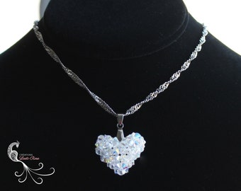 swarovski crystal necklace, crystal pendant, beadwork necklace, beadweaving, beadwoven, necklace chain, heart necklace, heart pendant