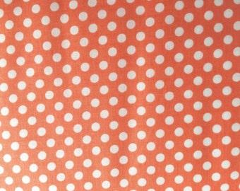 Peach Dot Fabric - Michael Miller Peach Kiss Dot Fabric - Coral and White Polka Dot Material