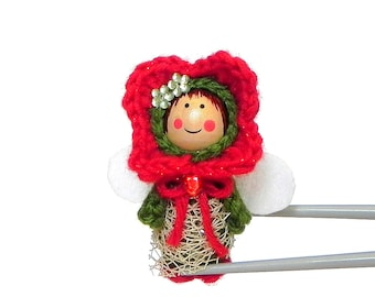 Red Flower Fairy MochiQtie Amigurumi - Mochi size crochet mini stuffed toy doll - Crochet Amigurumi art doll