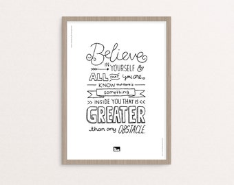 "Hand-lettering - Digital Printable - ""Believe in Yourself"" Quote - 8x10 / A4 - Instant Download"
