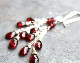 Garnet Earrings Cascade Earrings Romantic Long Dangling Red Gemstone Earrings Sterling Silver Gemstone Jewelry