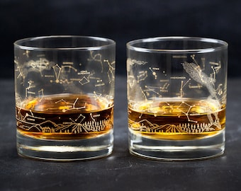 Night Sky Star Chart Old-Fashioned Lowball Whiskey Glasses (Pair) Gold Constellation Astronomy, Cocktail, Whisky, Star Map