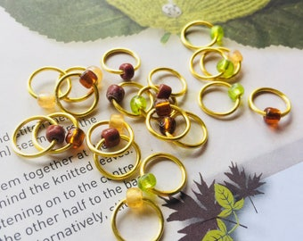 20 Knitting stitch marker rings Golden Brown