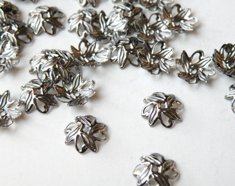 50 Floral Leaves Bead caps shiny gunmetal plated brass 10mm (fits 8-10mm) A5583FN