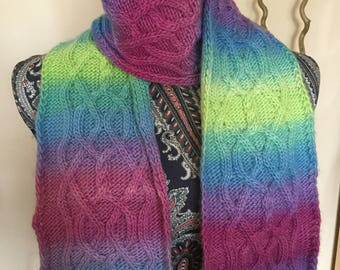 Bright Cable Knit Scarf