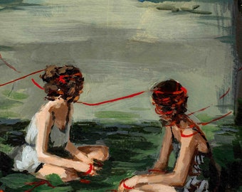 Red Ribbon .   giclee art print available in all sizes