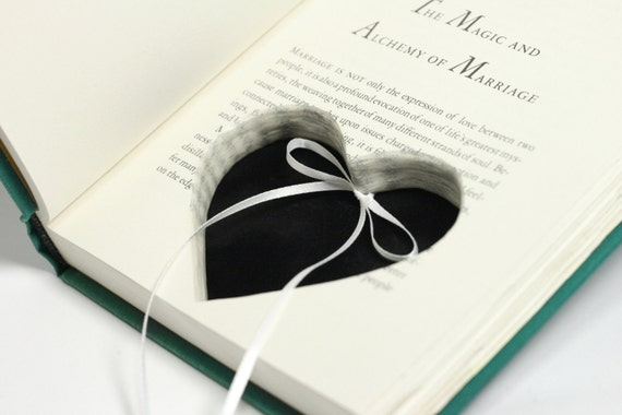 Soul Mates Engagement Ring Holder Hollow Book Box Heart Circle