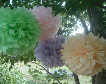 Tissue paper poms / Country Wedding decorations / Baby shower / Anniversary / Bridal party / Party decorations / Set of 20