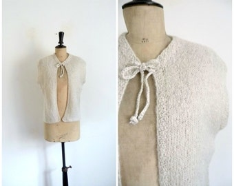 Wool Glittering Light Grey Cardigan  Vintage 1970s/70s - Size M L