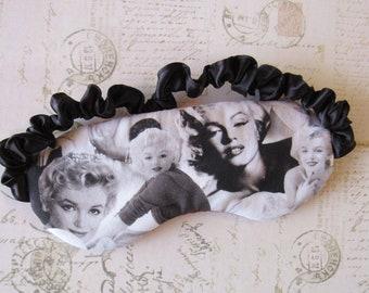 Marilyn Monroe Sleep Mask in Black, White, Red // Cotton & Satin Eye Mask