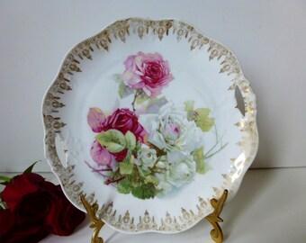 Bavarian Rose Cake Plate with handles by Zeh Scherzer &Co  c 1900