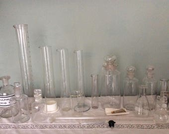 Vintage Medical/Laboratory Glass Items.  Can be bought separately.