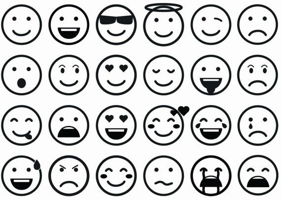 Emoticons Black Silk Screen Enamel Fused Glass Decals 16CC668
