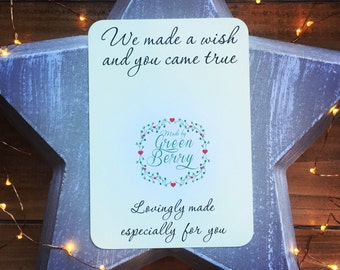We made a wish and you came true quote card with choice of charm madebygreenberry wish bracelet
