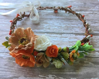 Wedding crown, wedding flower crown, flower crown adlut, bridal flower crown, fall wedding flower crown, rustic wedding flower crown