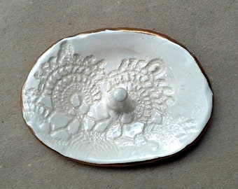 Off White Lace Ceramic Ring Holder Bowl edged in gold
