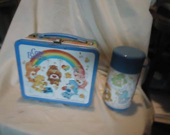 Vintage 1983 Care Bears Tin Metal Lunch Box by With Thermos, Lunchkit, collectable