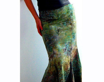 Mermaid green maxi skirt- Special occasions, evening, party skirt- Green sexy skirt- Watercolor women skirt- Fashion maxi skirt-Cotton skirt