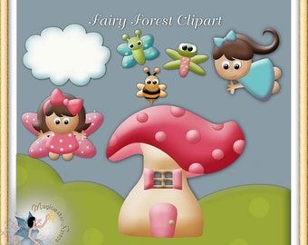 Fairy Forest Clipart, Commercial Use