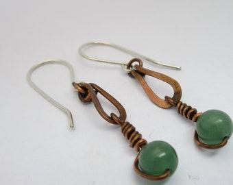 Green Aventurine Earrings - Oxidized Copper Earrings - Copper Earrings - Tear Drop Earrings - Green Earrings - Aventurine Earrings - Boho