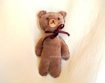 Toy bear, small primitive bear  7inch / 18cm tall antique look made of natural materials, NO MACHINE INVOLVED