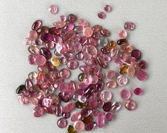 Pink Tourmaline Gemstone Cabochons - 5g Wholesale Parcel Lot