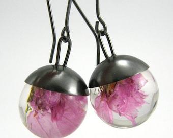 Silver Resin Earrings, Tenerifian Flowers Resin Earrings