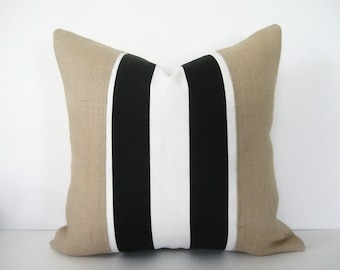 Pillow Cover Burlap Black & White Stripe Zipper Opening Urban Farmhouse