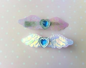 Magical Girl Mahou Shoujo Blue Heart Irridescent Angel Wing Hair Clips -  Kawaii Lolita Decora Fairy Kei Harajuku Cute Pastel Goth Fashion