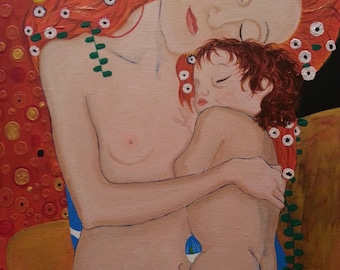 Gustav Klimt Mother and Child Reproduction Acrylic on Canvas
