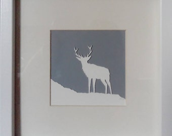 Stag silhouette papercut