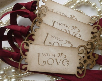 Marsala Wedding Favors, Burgundy Wedding Tags, With Love Tags, Vintage Inspired Tags, Anniversary Tags, Gift Tags, Wedding Favors, Thank You