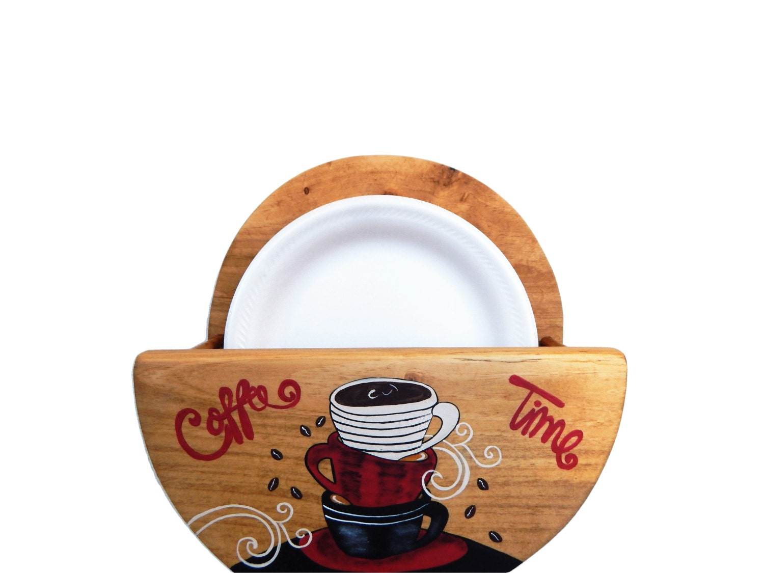 Paper Plate Holder, Wooden Plate Holder, Coffee Themed Kitchen ...