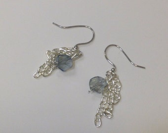 Blue crystal and chain earrings