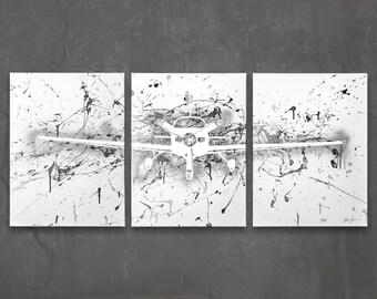 cirrus sr22 // custom original painting // modern triptych // airplane art // metallic large wall art // plane painting silhouette