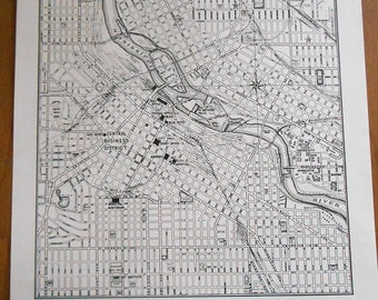 1947 Minneapolis City Map, Vintage old street map