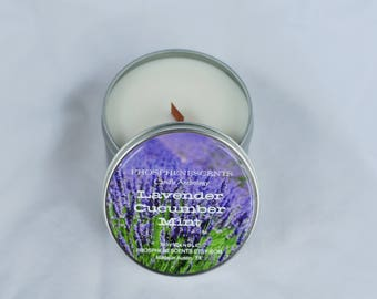 Lavender Cucumber Mint Scented Soy Wax 6.5 oz. Wood Wick Candle Tin