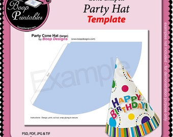 Child Party Hat (cone shaped) - Gift or Party Favor TEMPLATE by Boop Printables