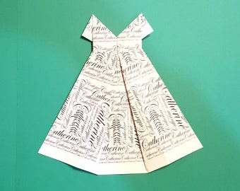 """Personalized Origami Dress with name 7"""" x 7 1/2""""  white with black script"""