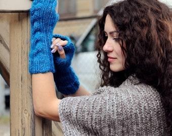Knit fingerless mittens pattern Knit fingerless glove pattern Knit fingerless mitts Half finger gloves Women knit gloves Knitting pattern