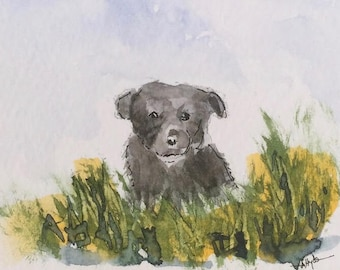 Puppy ORIGINAL Miniature Watercolour ACEO Canine, Dog, For him, For her, Home Decor Wall Art Gift Idea, Free postage worldwide