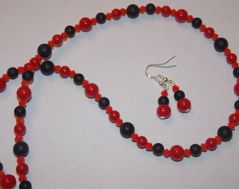 Red Coral and Frosted Black Agate and Red Crystal Necklace and Earring Set