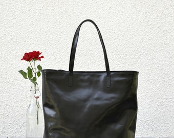 Leather Tote Bag LEA Black Tote Bag With Zipper Shopping Bag Leather Tote Tote Bag With Pockets Tote Bag Leather Purse Leather Shoulder Bag