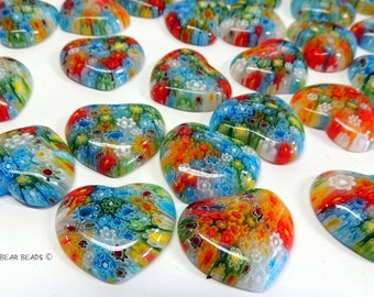 Millefiori Heart Multicolor Glass Cabochons Heart 27 mm Jewelry Mosaics Crafts