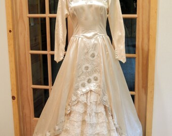 COUPON SALE 50% off at checkout-RARE Antique 1943 2 Pc Satin and beaded Bridal Gown-Illusion Neckline-Ruffled Slip with Satin Overlay