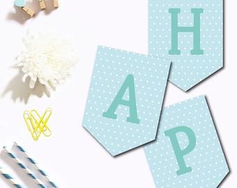 "Banner ""Happy Birthday"" Turquoise"
