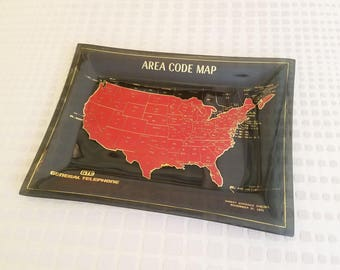 USA Area Code Map Smoky Glass Tray Americana Collectable from GTE General Telephone Advertising Large Coin Tray Mid Century Vintage