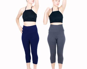 Capri Yoga Pant Cotton Lycra Legging Mid Length Workout Pants High Waist Gym Wear
