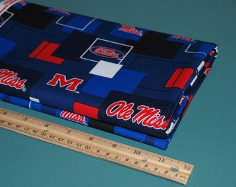 1/2 Yard Ole Miss University of Mississippi Modern Block Cotton Fabric