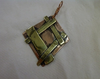 Copper and Brass layered & soldered pendant